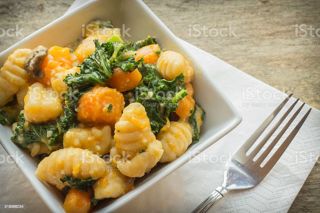 Gnocchi Squash Kale stock photo