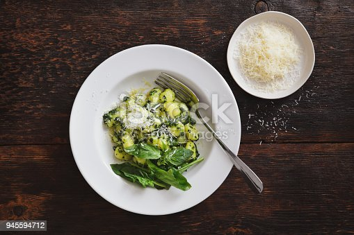 Gnocchi with spinach and parmesan