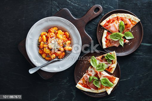 Gnocchi with tomato and basil sauce