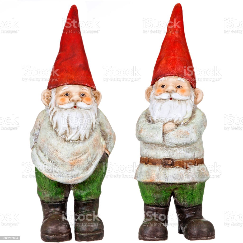 Gnome pair isolated on white stock photo