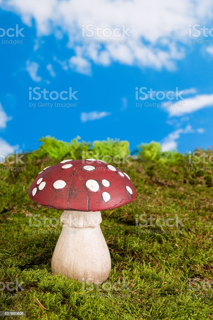 Gnome toadstool stock photo