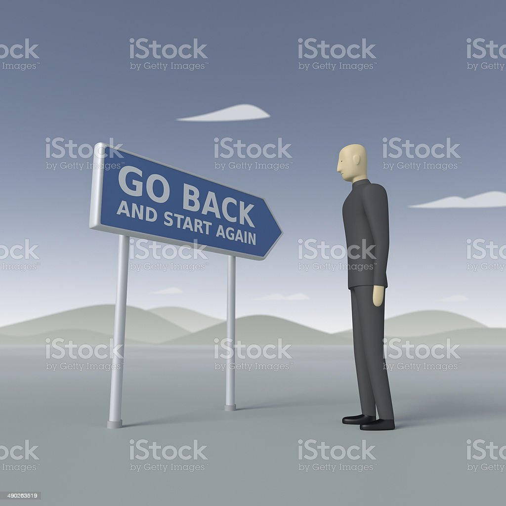 Go Back and Start Again XL+ stock photo