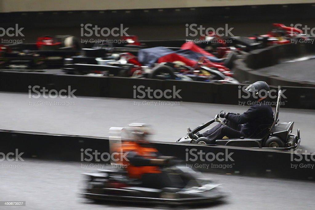Go cart indoor racing stock photo
