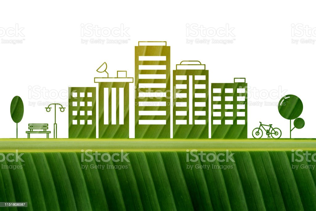 Go green city. Save earth planet world concept. Ecology friendly with...