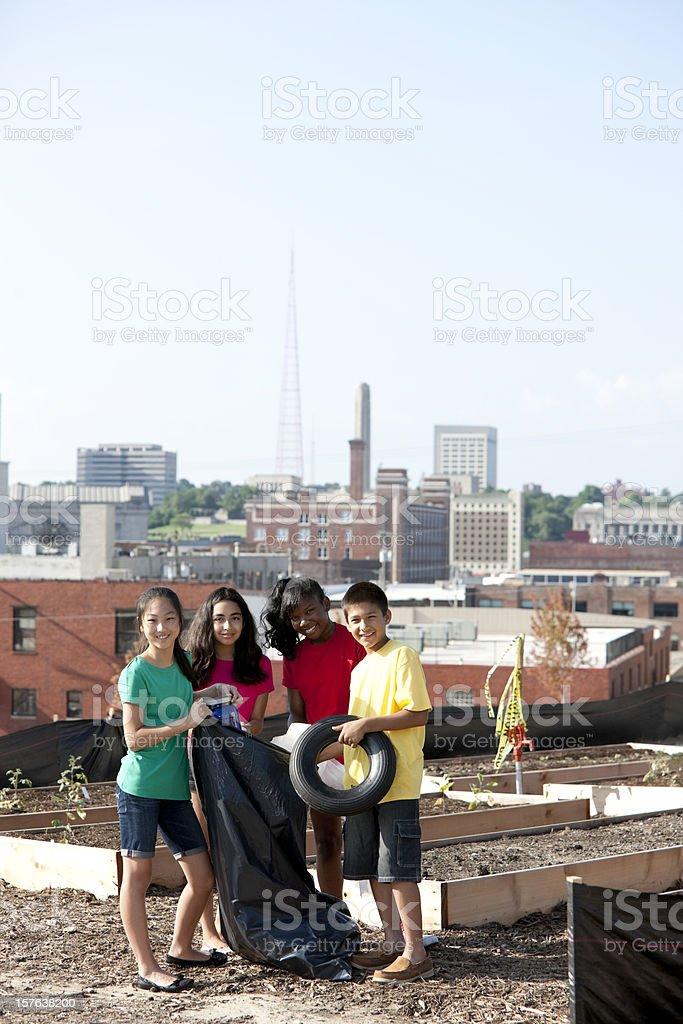 Go Green Ethnically Diverse Children Clean Up Trash Urban ...