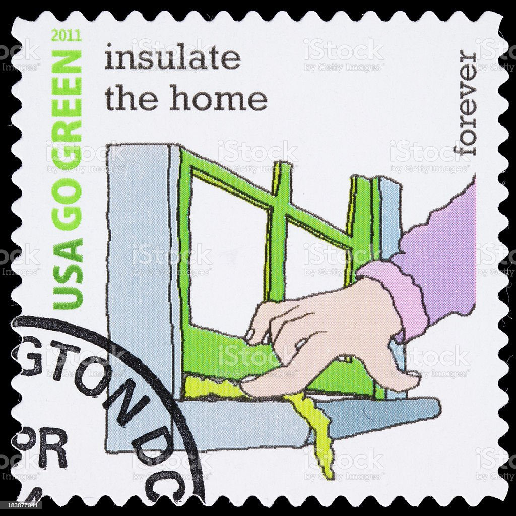USA Go Green insulate the home postage stamp stock photo