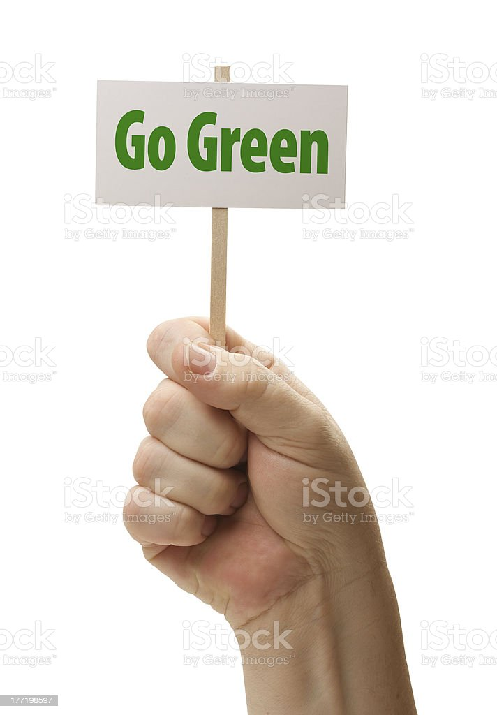 Go Green Sign In Fist On White royalty-free stock photo