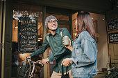 reusable, cup, cafe, coffee shop, couple, smiling, talking, lifestyles, Bangkok, Thailand