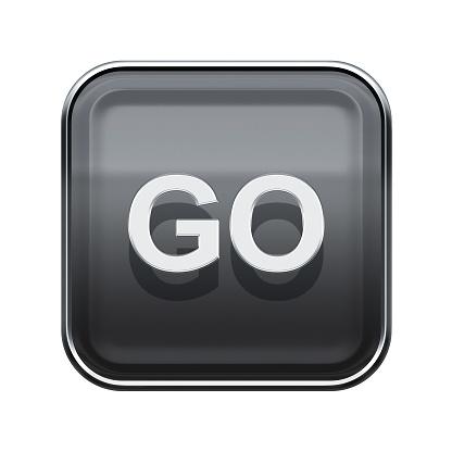 506662064 istock photo Go icon glossy grey, isolated on white background 488481744