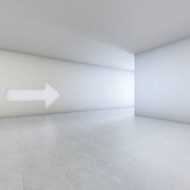 Go that way Generic white interior with arrow pointing to exit. 3D renderSimilar image: entrance sign stock pictures, royalty-free photos & images
