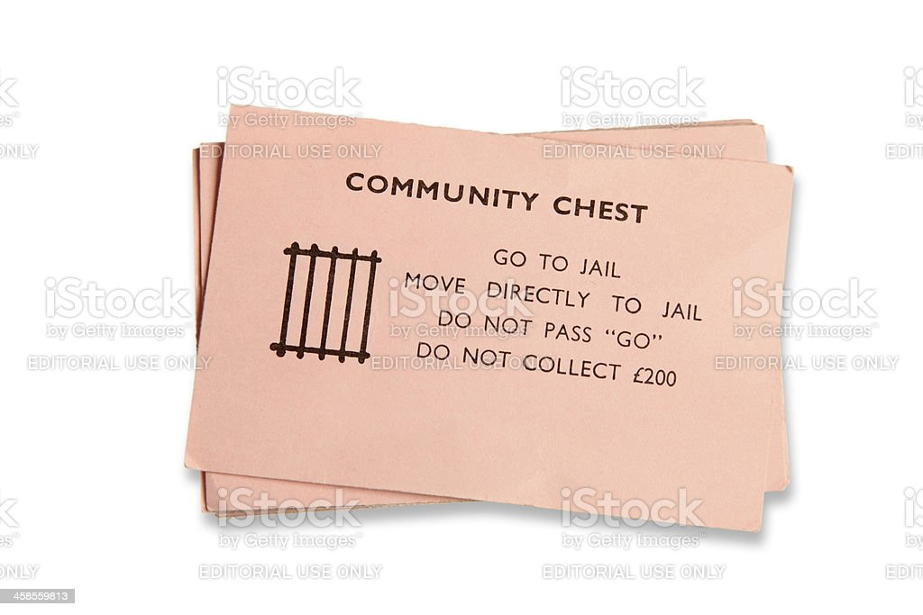 Go to jail Monopoly card stock photo