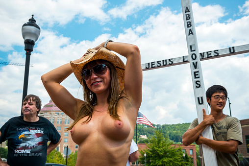 Go topless rally in Asheville, N.C.