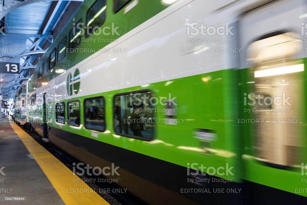 Go Transit train in Toronto stock photo