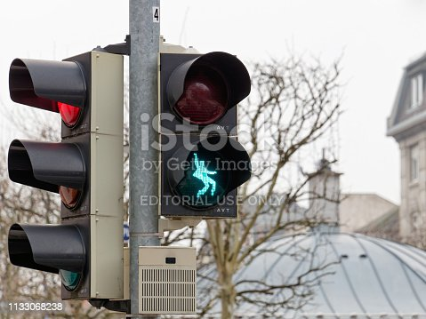 Friedberg, Germany stoplight for pedestrians with Elvis Presley silhouette in dancing pose. Presley was stationed in Friedberg from 1958 to 1960 as a soldier.