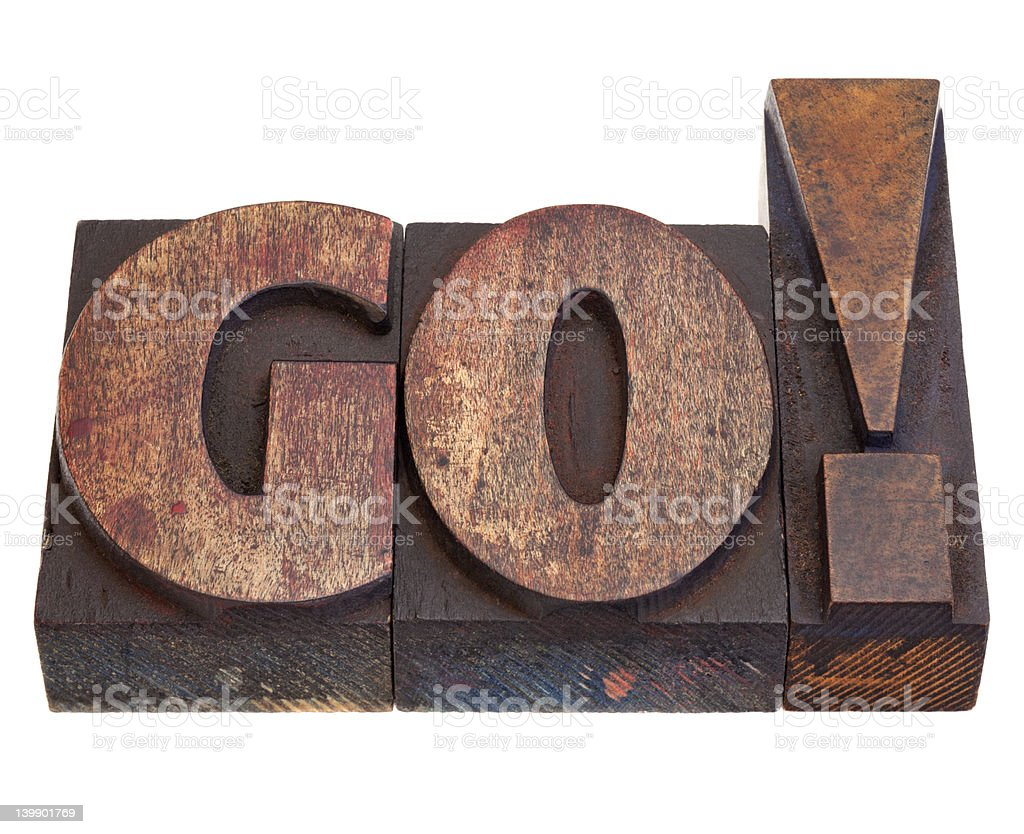 go - word in letterpress type royalty-free stock photo