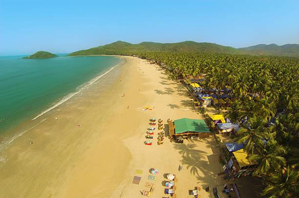 Goa Palolem beach from above stock photo