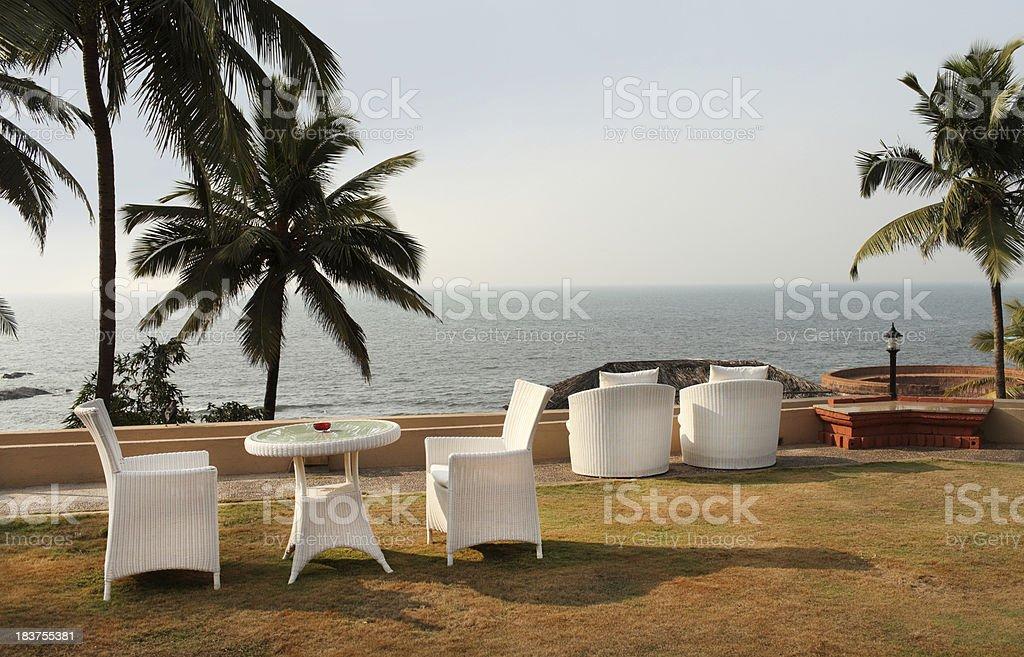 Goa resort on beach stock photo