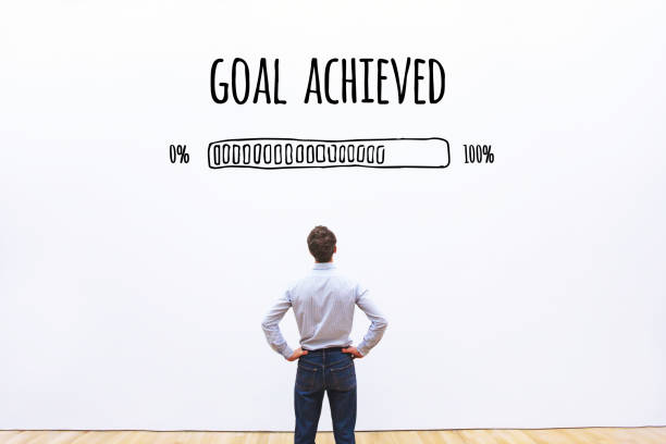 goal achieved progress loading bar stock photo
