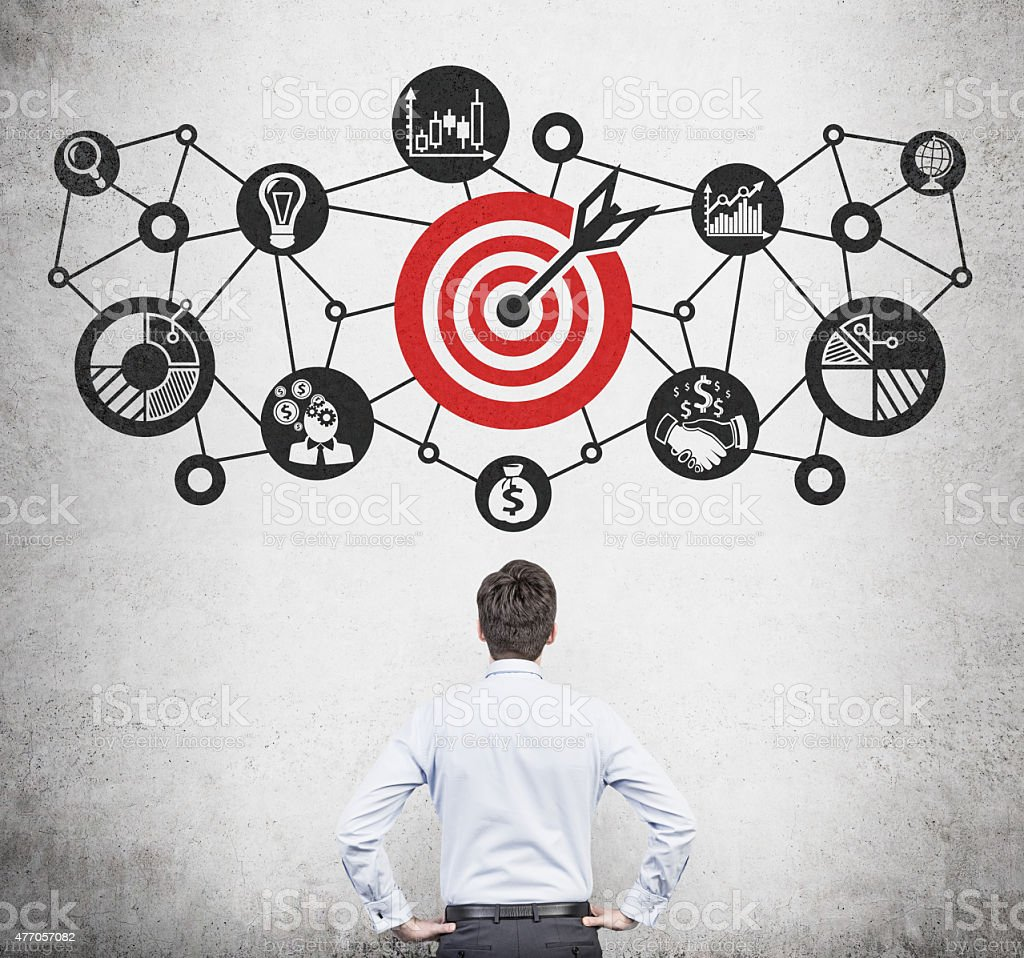 goal  diagram businessman and drawing goal  diagram over head 2015 Stock Photo