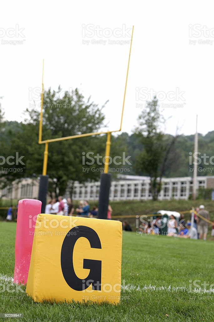 Goal Line Marker with Endzone and Posts stock photo