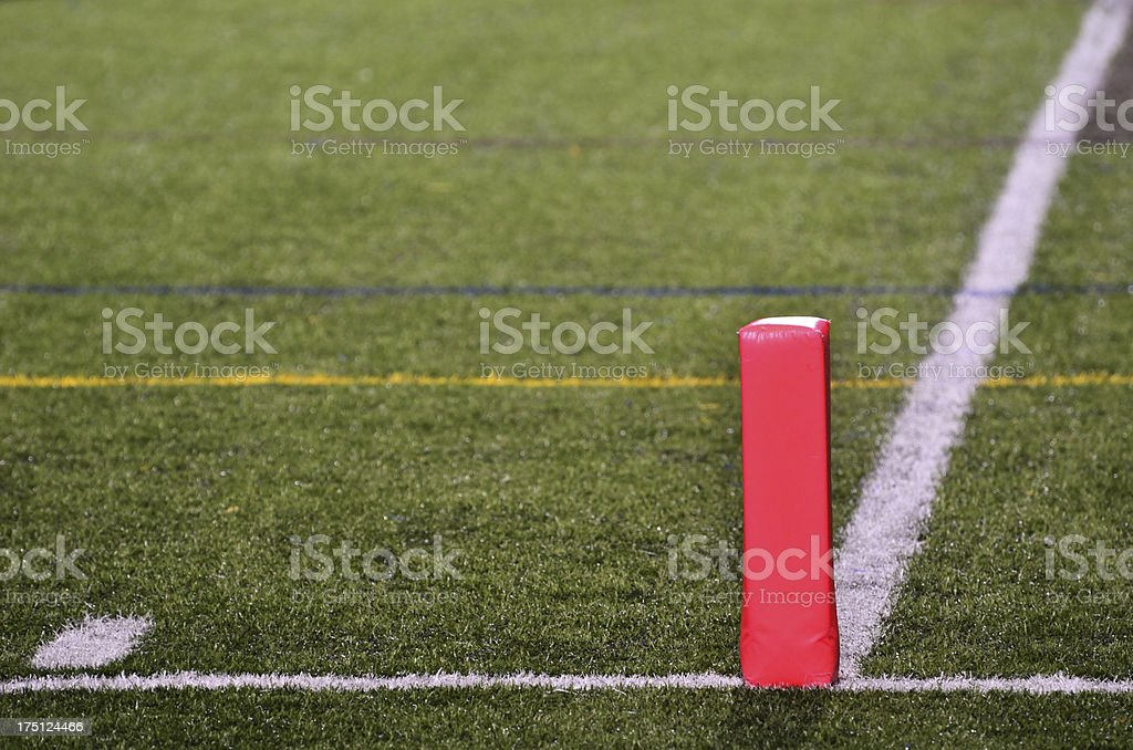 Goal Line on American Football Field stock photo