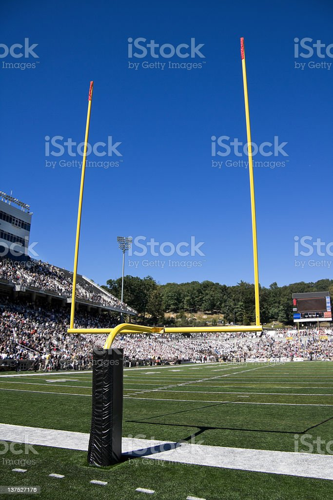 goal post at half time during football game stock photo