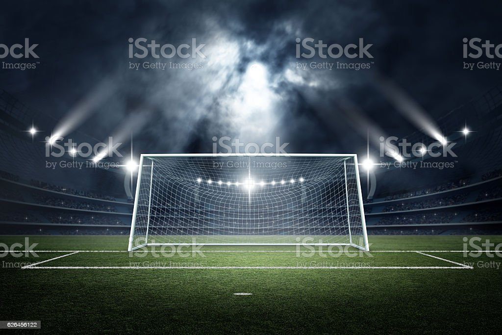 Goal post in the stadium,3d rendering - foto de stock