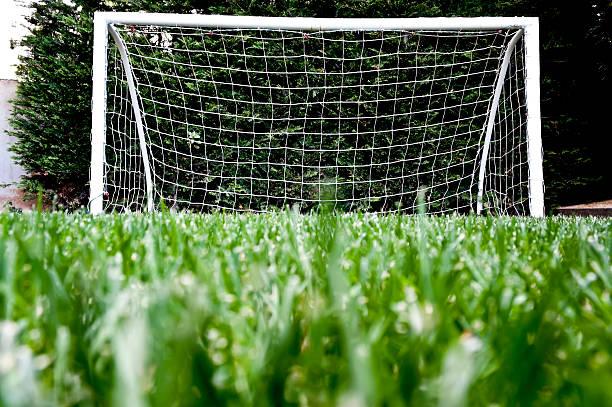 Torpfosten auf grünem Gras Spielplatz – Foto
