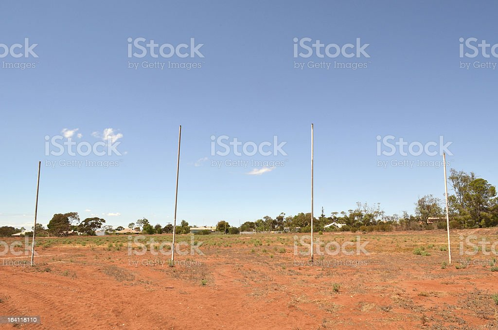 AFL Goal Posts in Outback Australia stock photo