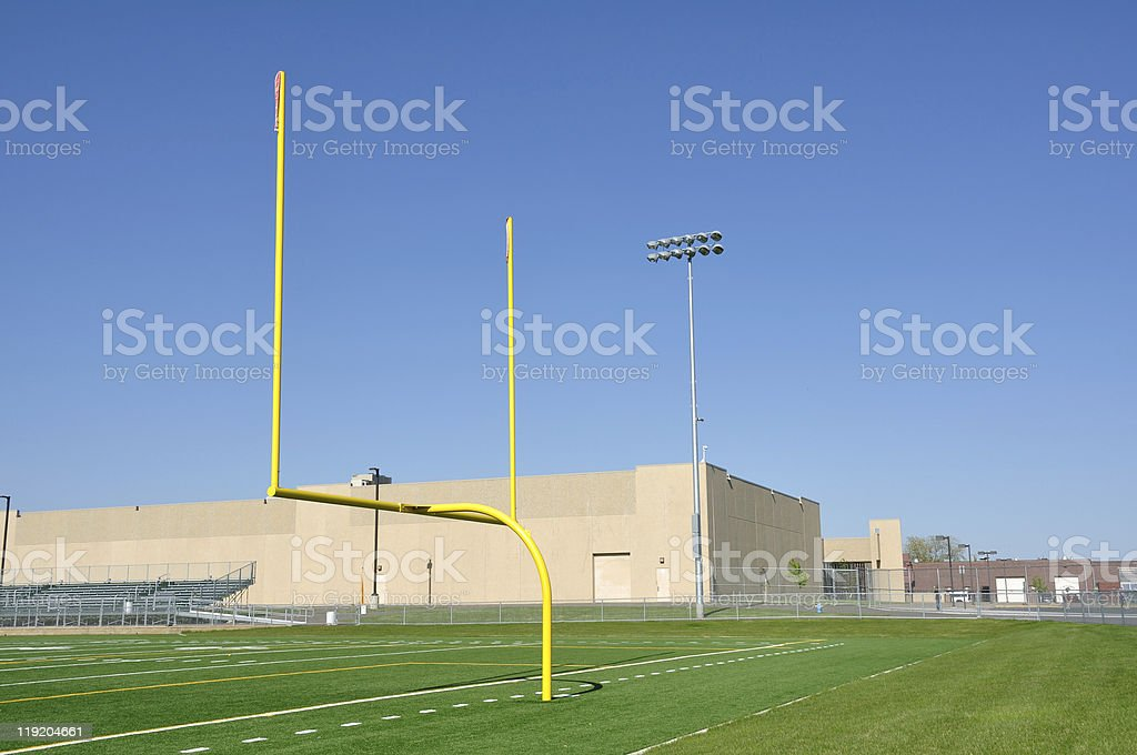 Goal Posts on American Football Field stock photo