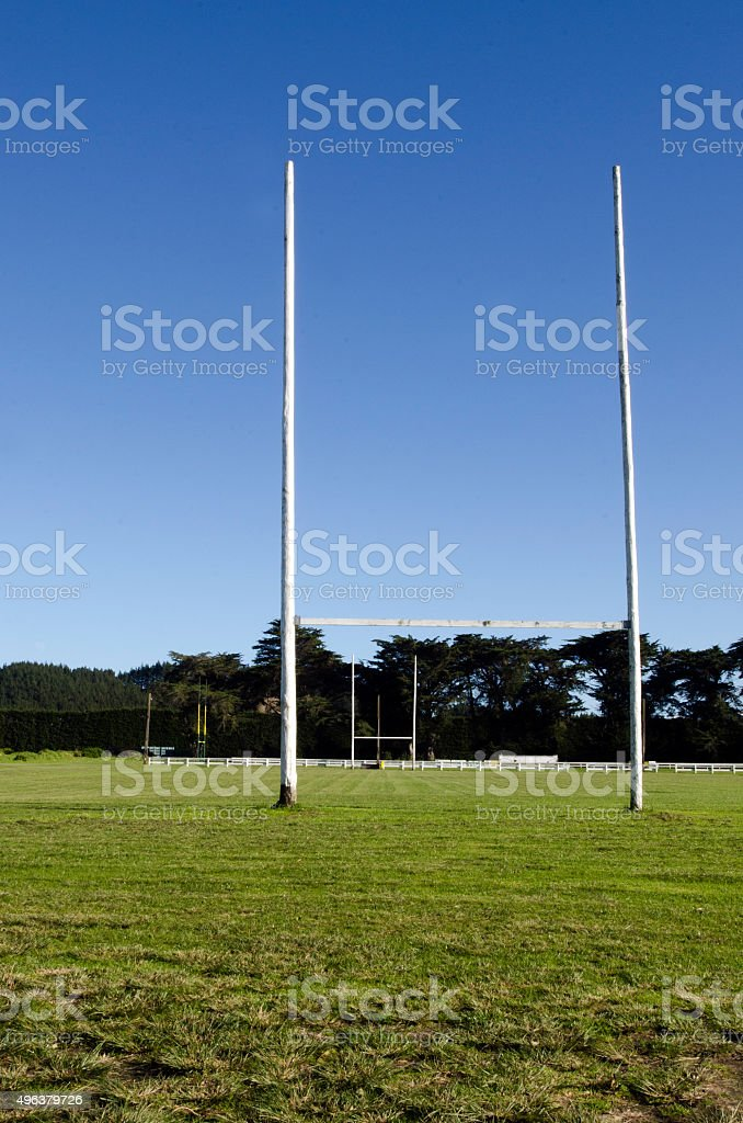 Goal posts stock photo