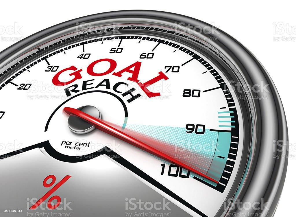 goal reach conceptual meter stock photo