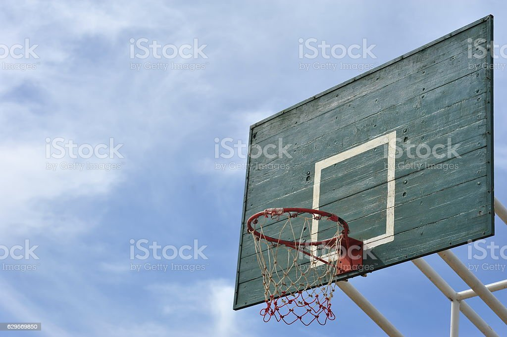 goal sign symbol of basketball sport in yard lawn turf stock photo