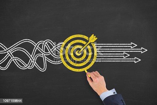 istock Goal Solution Concept on Blackboard 1097159844