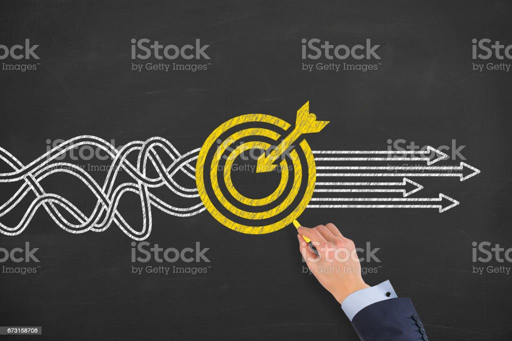 Goal Solution Concept on Blackboard stock photo