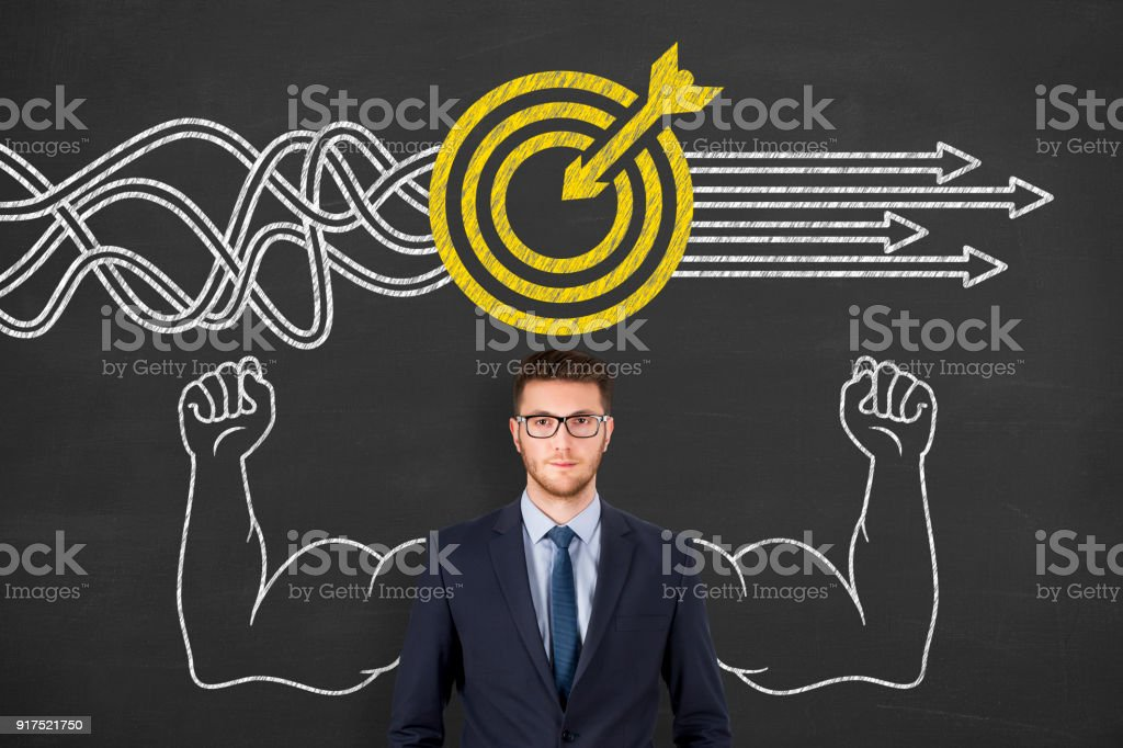Goal Solution Concept on Chalkboard stock photo