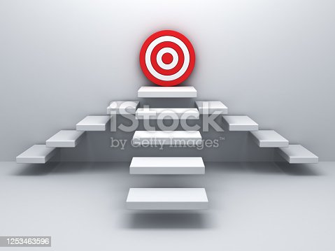 958939552 istock photo Goal target the business concept three ways white stairs aim to red dart board in the corner on white wall background with shadow 3D rendering 1253463596