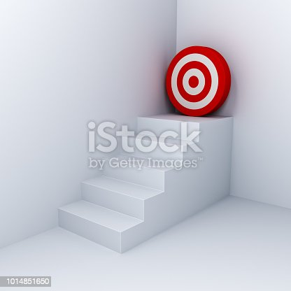 istock Goal target the business concept white stairs aim to red dart board in the corner on white wall background with shadow 3D rendering 1014851650