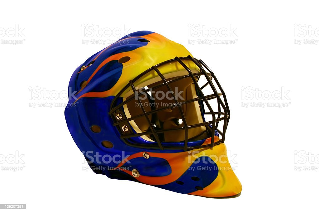 Goalie Mask Blue with flames stock photo