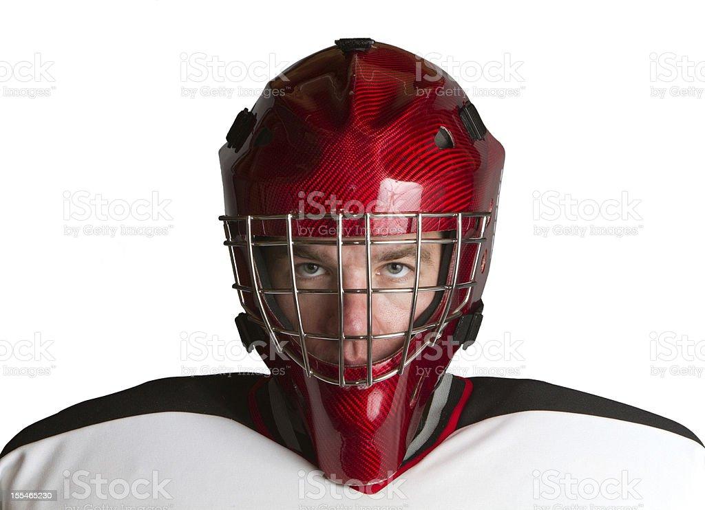 Goalie staring ahead stock photo