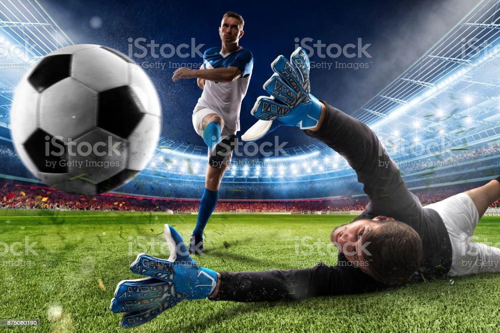 Goalkeeper kicks the ball in the stadium foto stock royalty-free