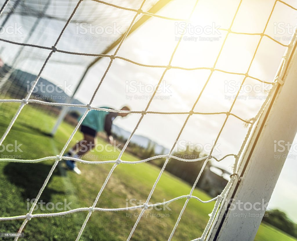 Goalkeeper on the football pitch royalty-free stock photo