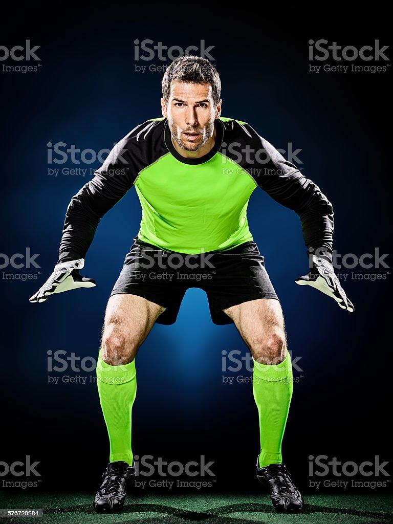 goalkeeper soccer man isolated stock photo