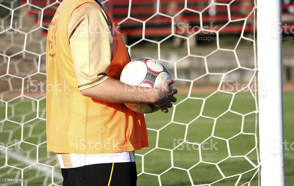 goalkeeper with ball royalty-free stock photo