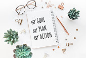 istock Goal,plan,action text on notepad with office accessories.Business motivation,inspiration,professional performance 1152183254
