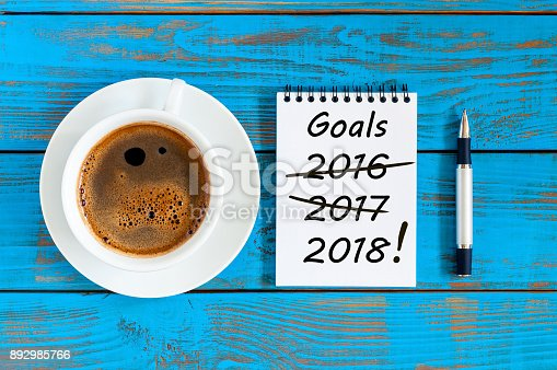 istock Goals 2018. Targets, goal, dreams and New Year's promises for the next year with strikeout numbers of 2016 and 2017 last years. Procrastination concept 892985766