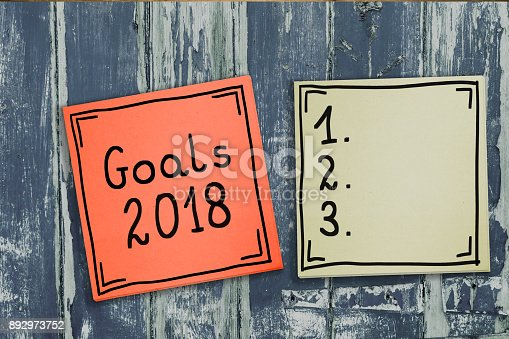 888342518 istock photo Goals 2018. The concept of determining challenges for 2018. Hand-written on sticky notes. 892973752