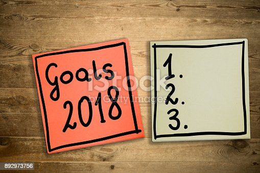 888342518 istock photo Goals 2018. The concept of determining challenges for 2018. Hand-written on sticky notes. 892973756