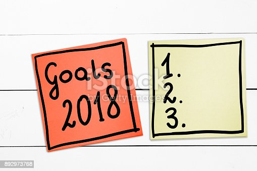 888342518 istock photo Goals 2018. The concept of determining challenges for 2018. Hand-written on sticky notes. 892973768