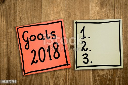 888342518 istock photo Goals 2018. The concept of determining challenges for 2018. Hand-written on sticky notes. 892973788